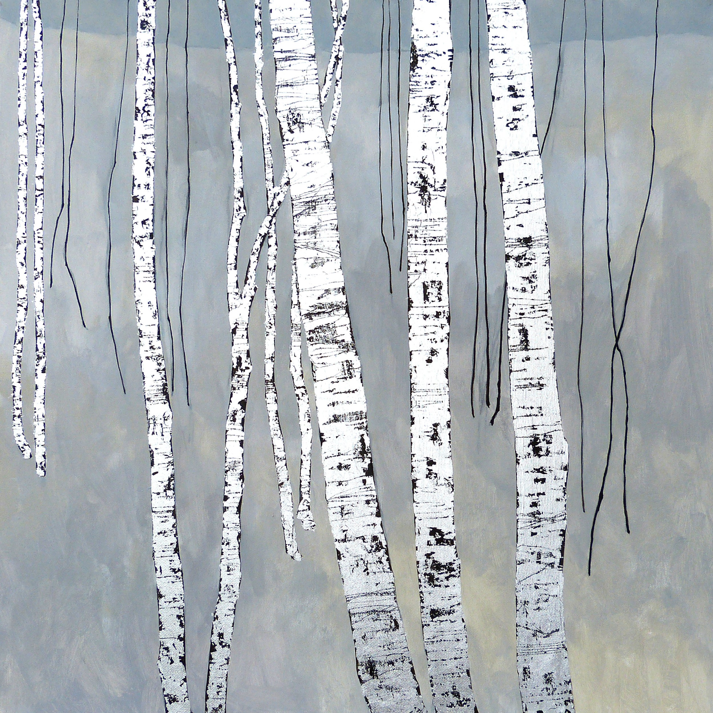 AT THE CROSSING  61x61cm    | mixed media on canvas with silver leaf | £1,600.00  | SOLD