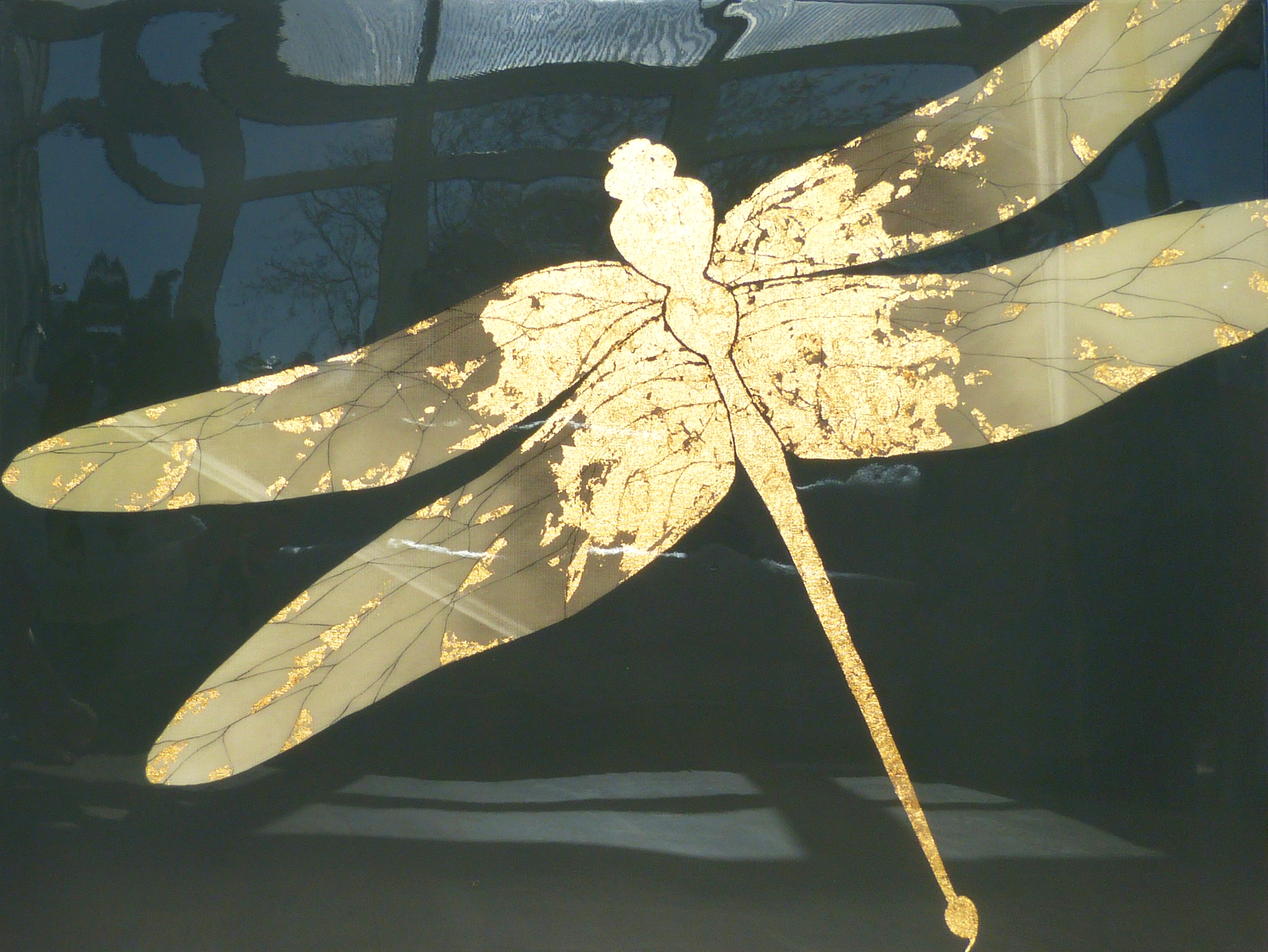 LUX DRAGONFLY  102x76cm | oil on canvas with gold leaf and resin | £1,700.00 | SOLD