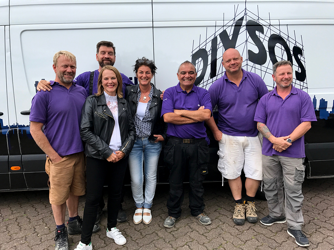 With the BBC TV program DIYSOS. Filming in July 2017. My painting (below) featured.
