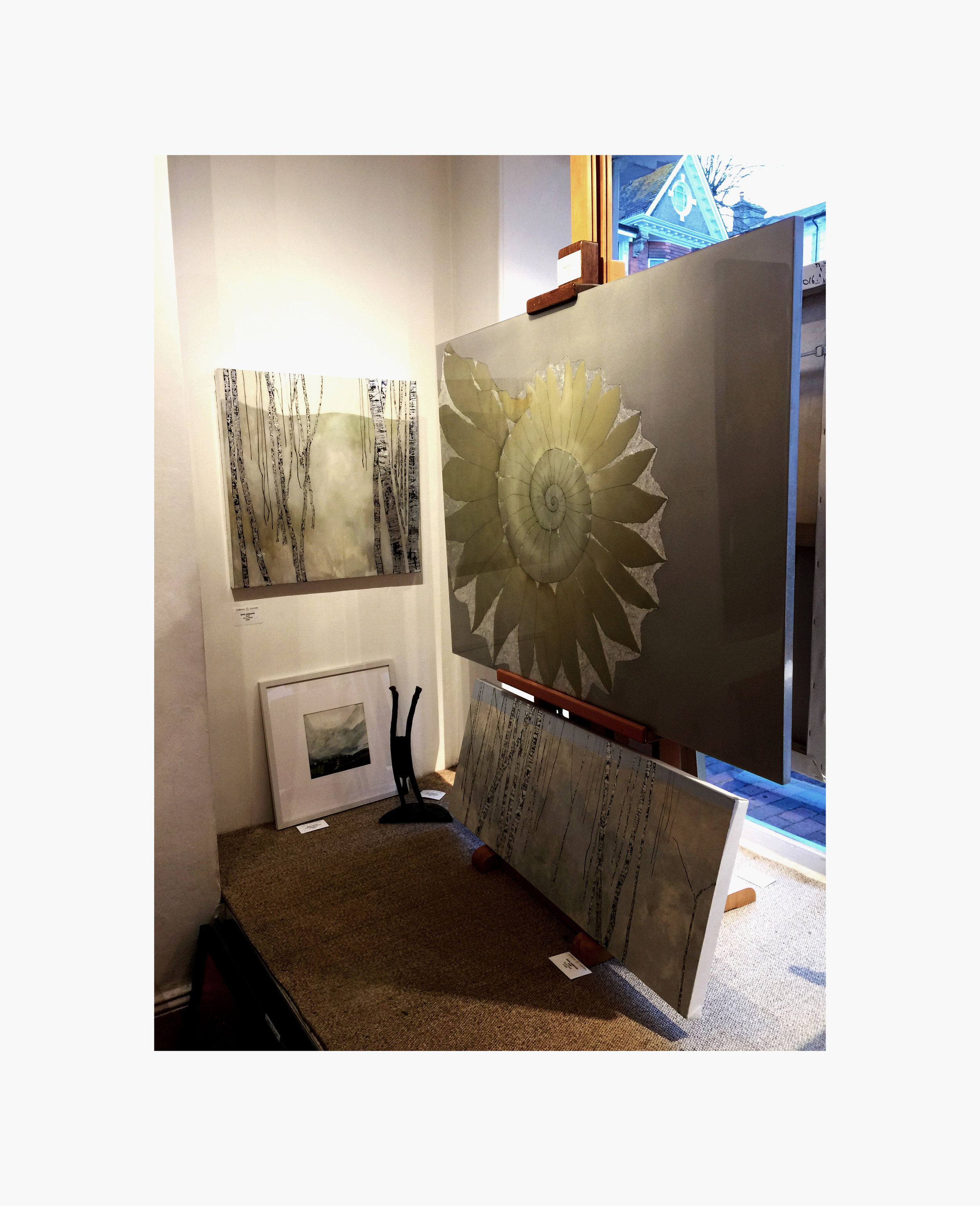 Ammonite and Birch Tree Paintings shown at The Fairfax Gallery