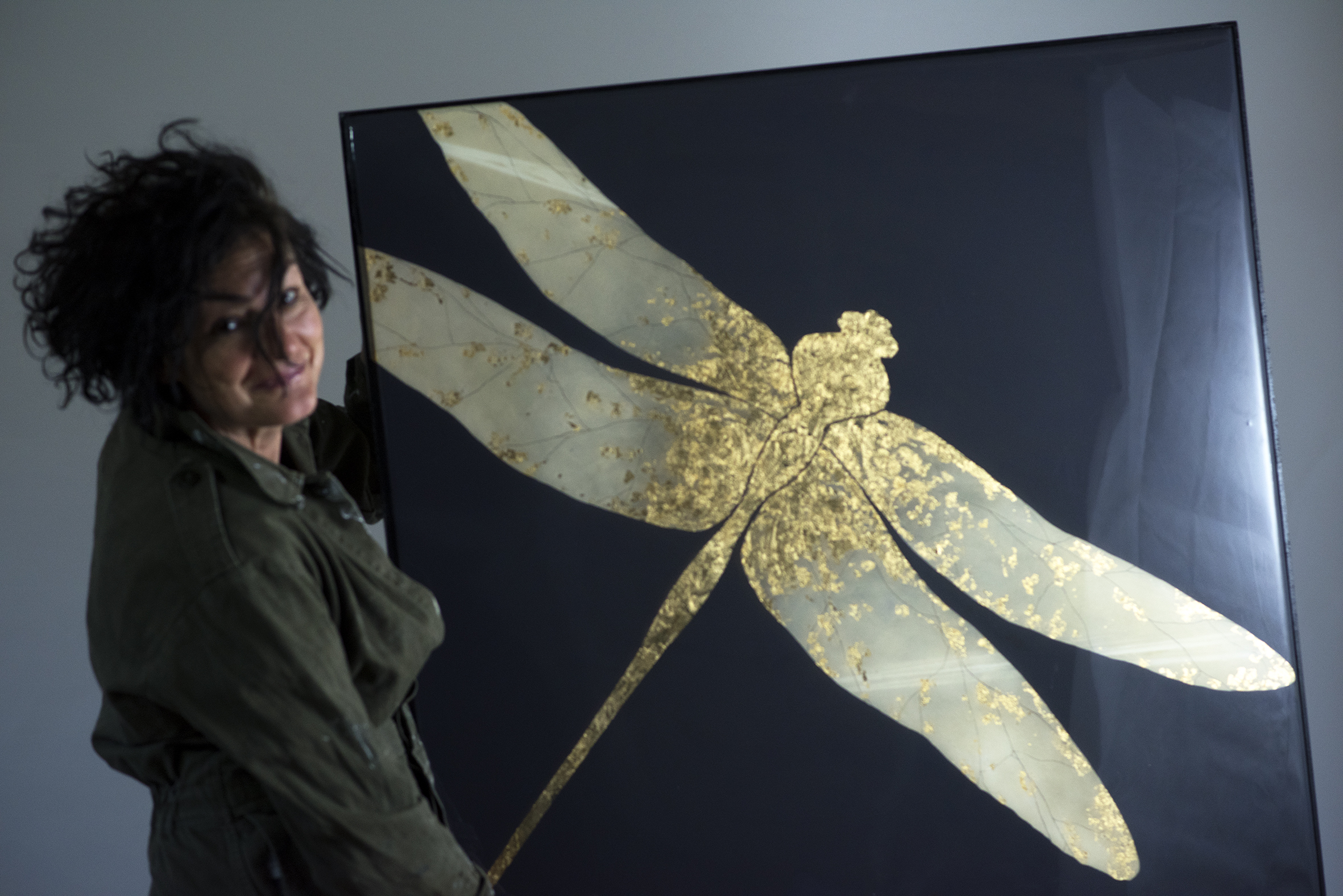 Golden Dragonfly painting. 91x91 cm. Oil on board with gold leaf and gloss resin surface