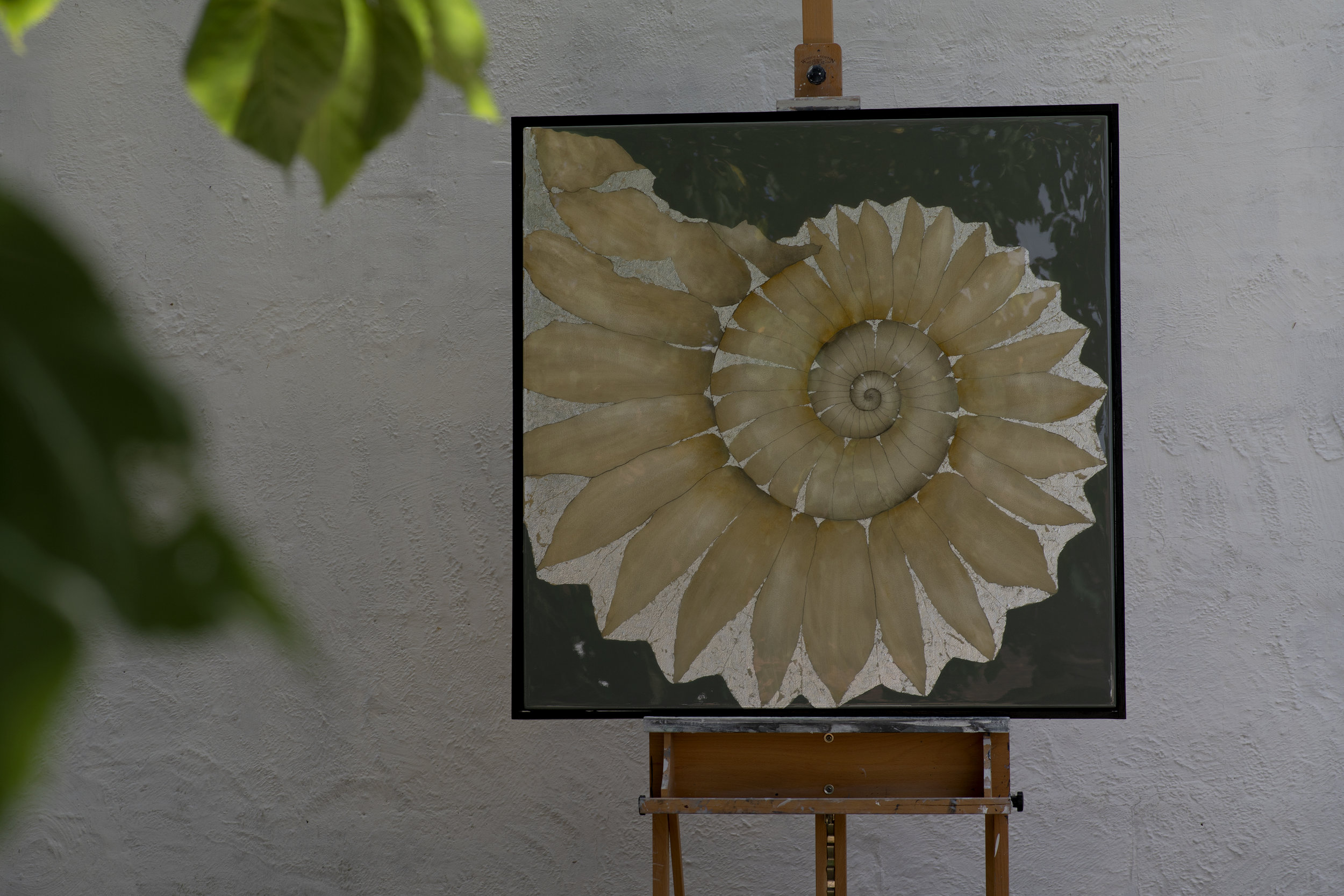 LYME AMMONITE | 90x90cm | oil and metal leaf on board with high gloss epoxy resin | £2,500.00 |