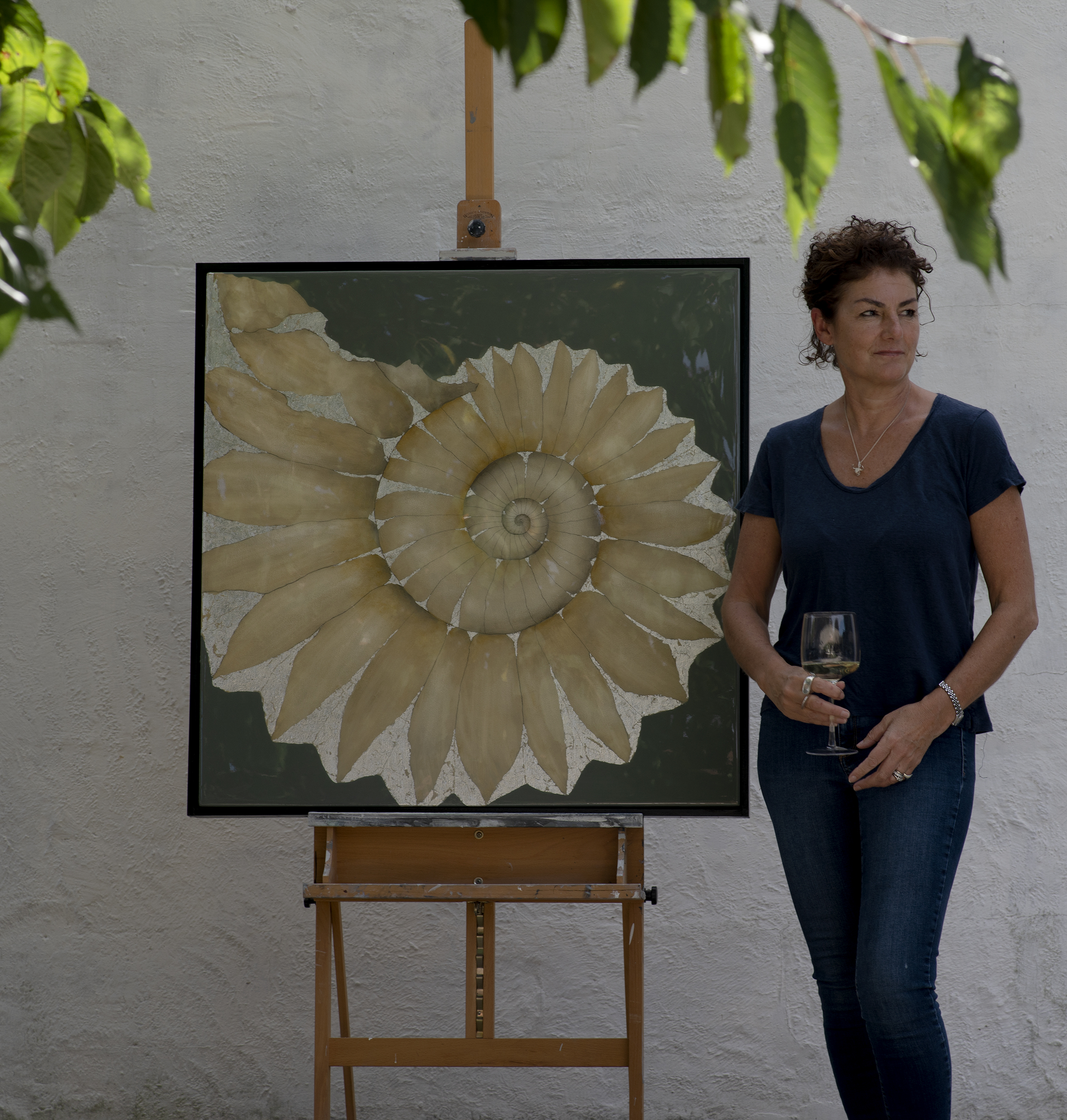 LYME AMMONITE | 90x90cm | oil and metal leaf on board with high gloss epoxy resin | £2,600.00 |
