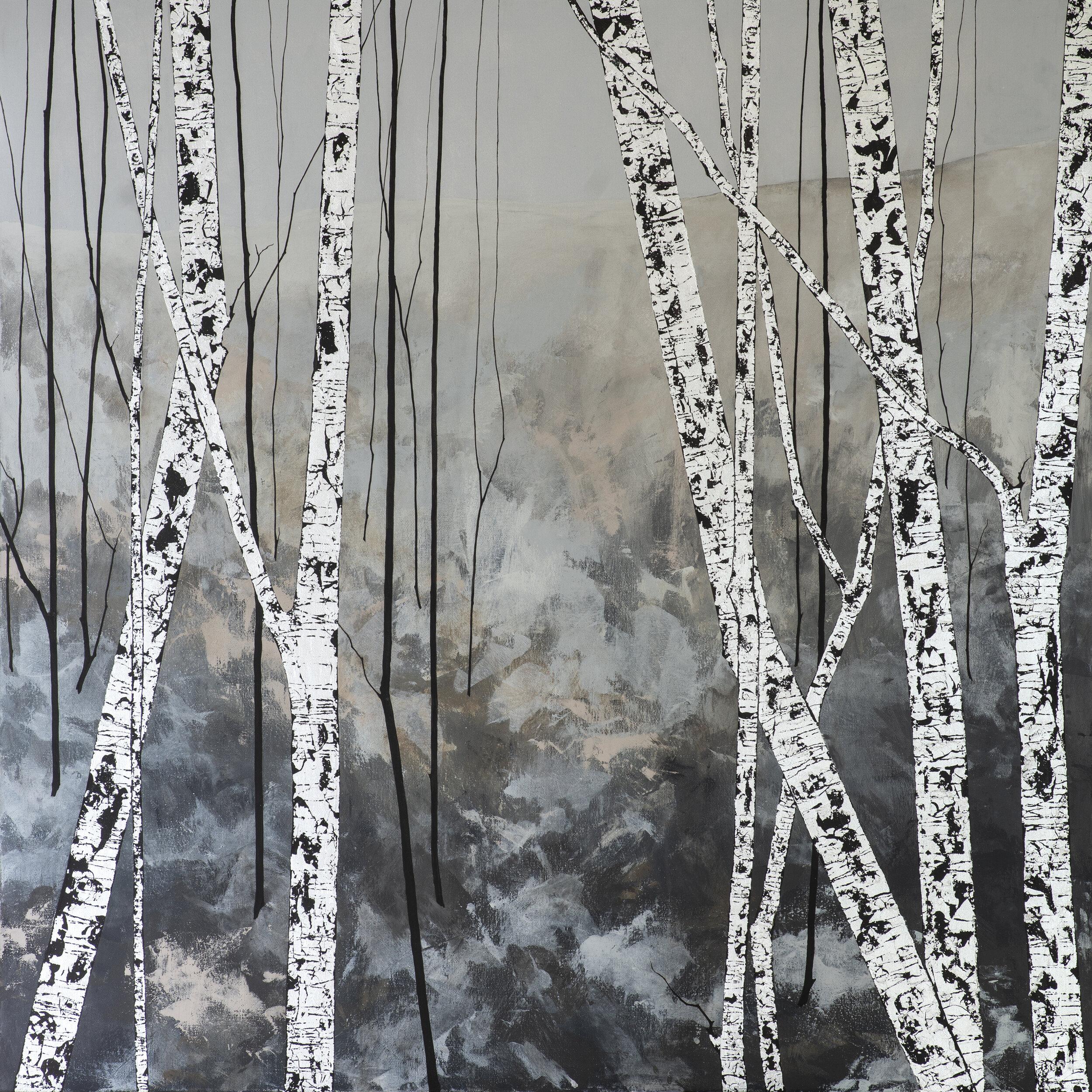 AGATHA'S FIELDS I 100x100cm | mixed media on canvas with silver leaf | £2,400.00