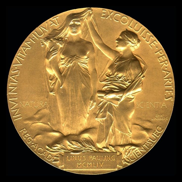 The image of science lifting the veil of nature from the back of Linus Pauling's Nobel Prize medal.