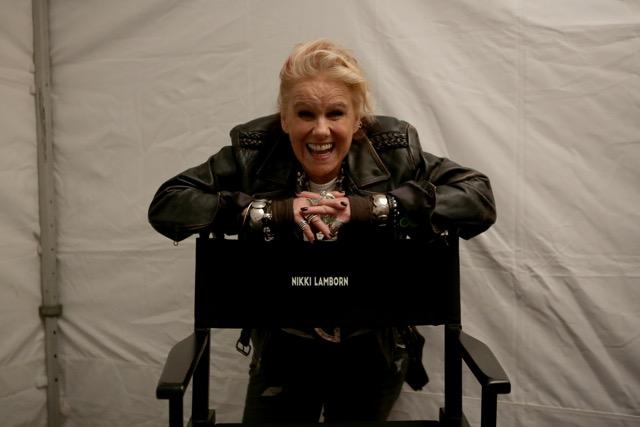 Nikki Lamborn on the set of Mute.