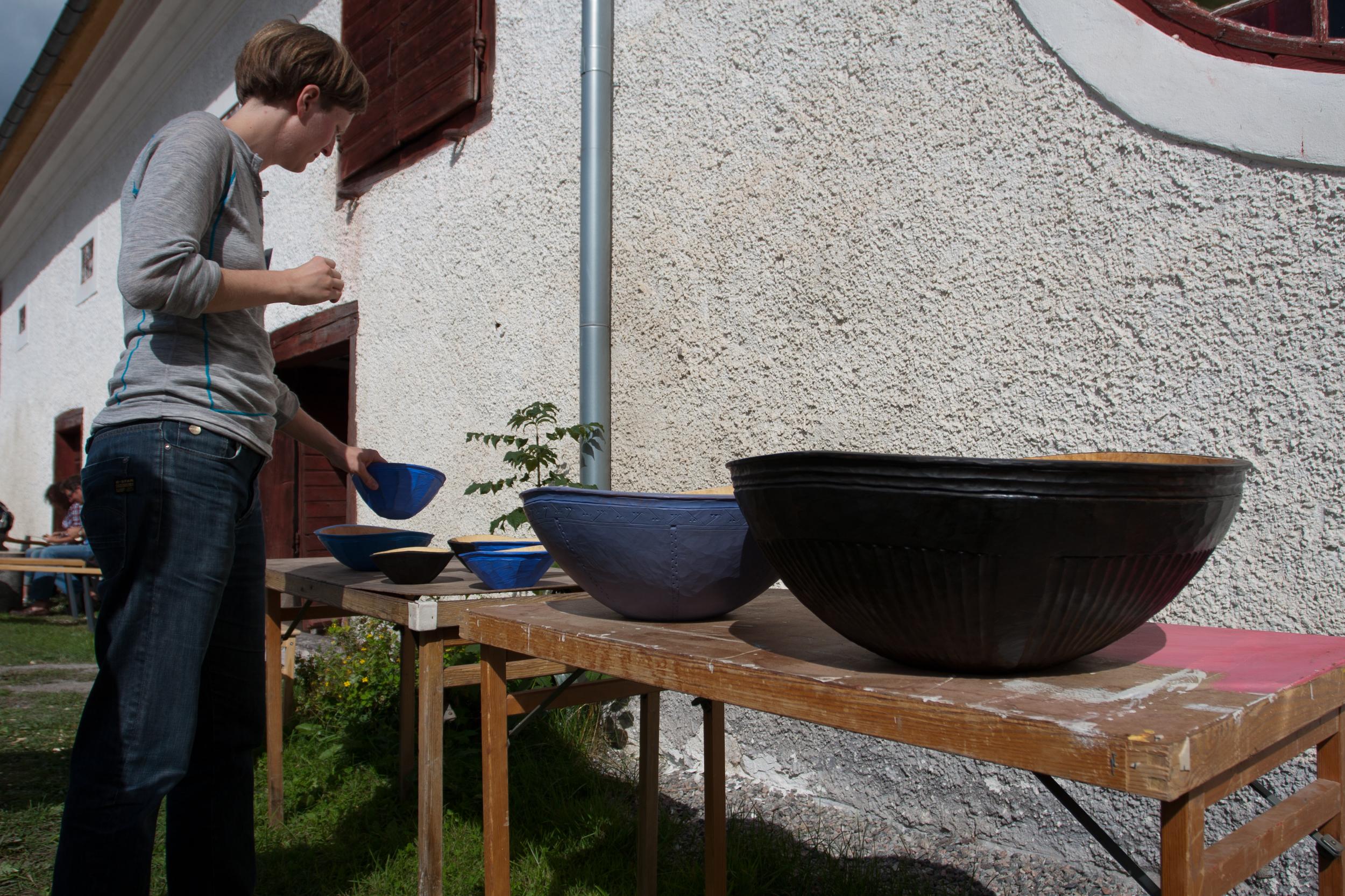 Beth Moen's bowls on display at Skedfest 2014