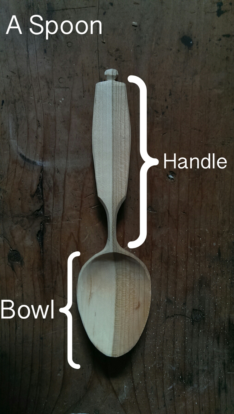 Cherry wood spoon with annotated bowl and handle.