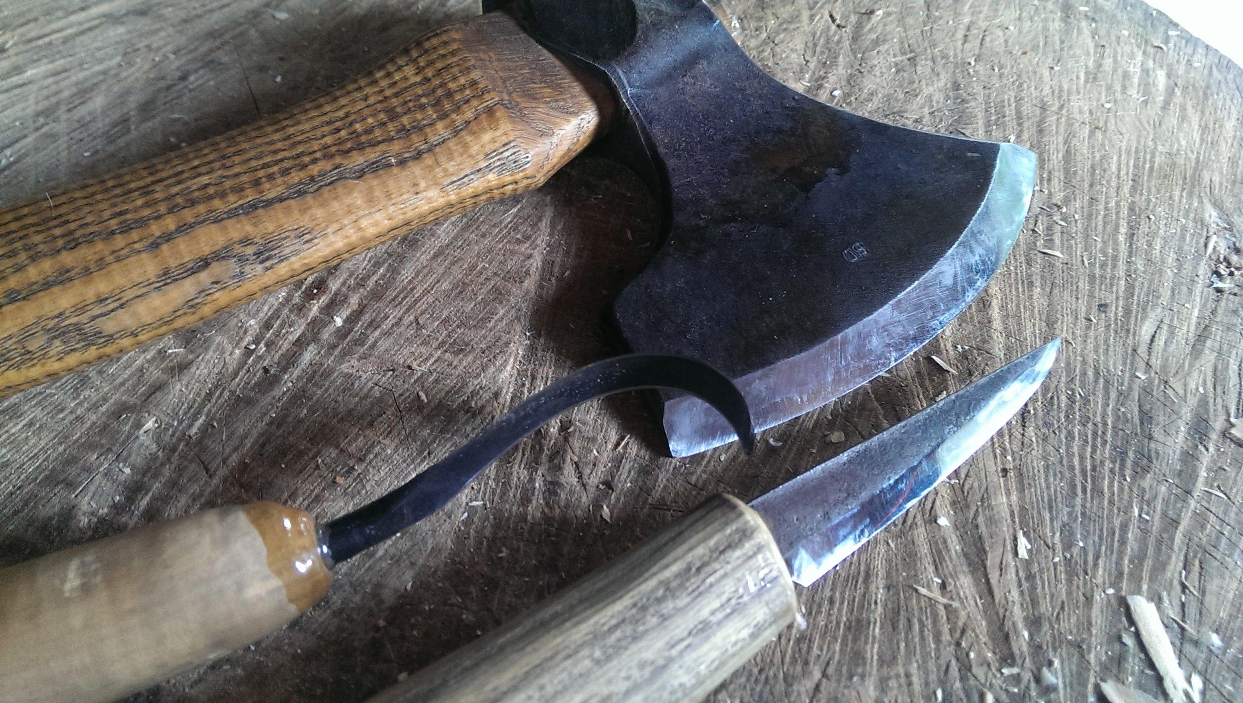 Svante Djarv Little Viking Axe, Nic Westermann Fawcett knife and Slojd carving knife