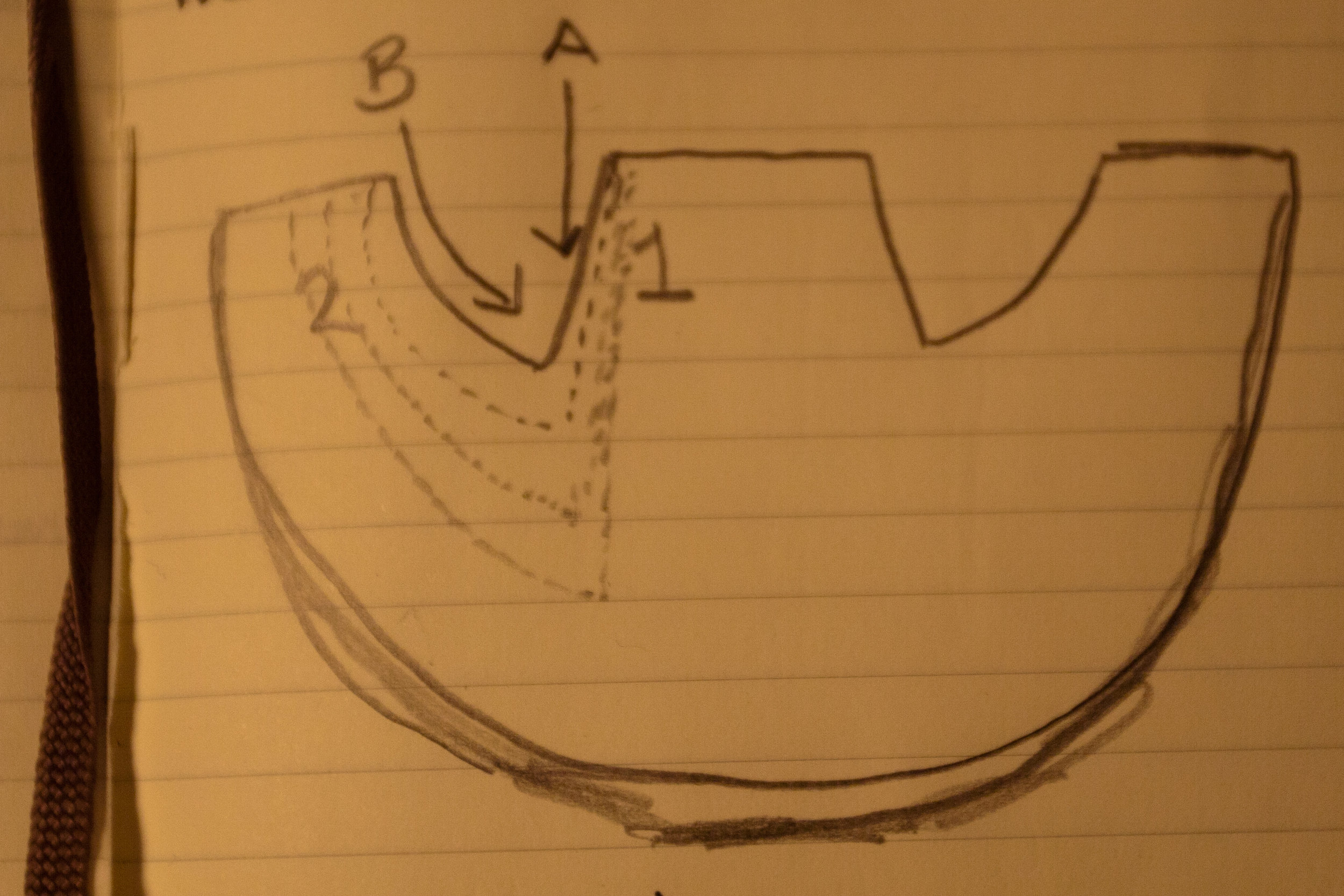Bowl hollowing diagram sketch