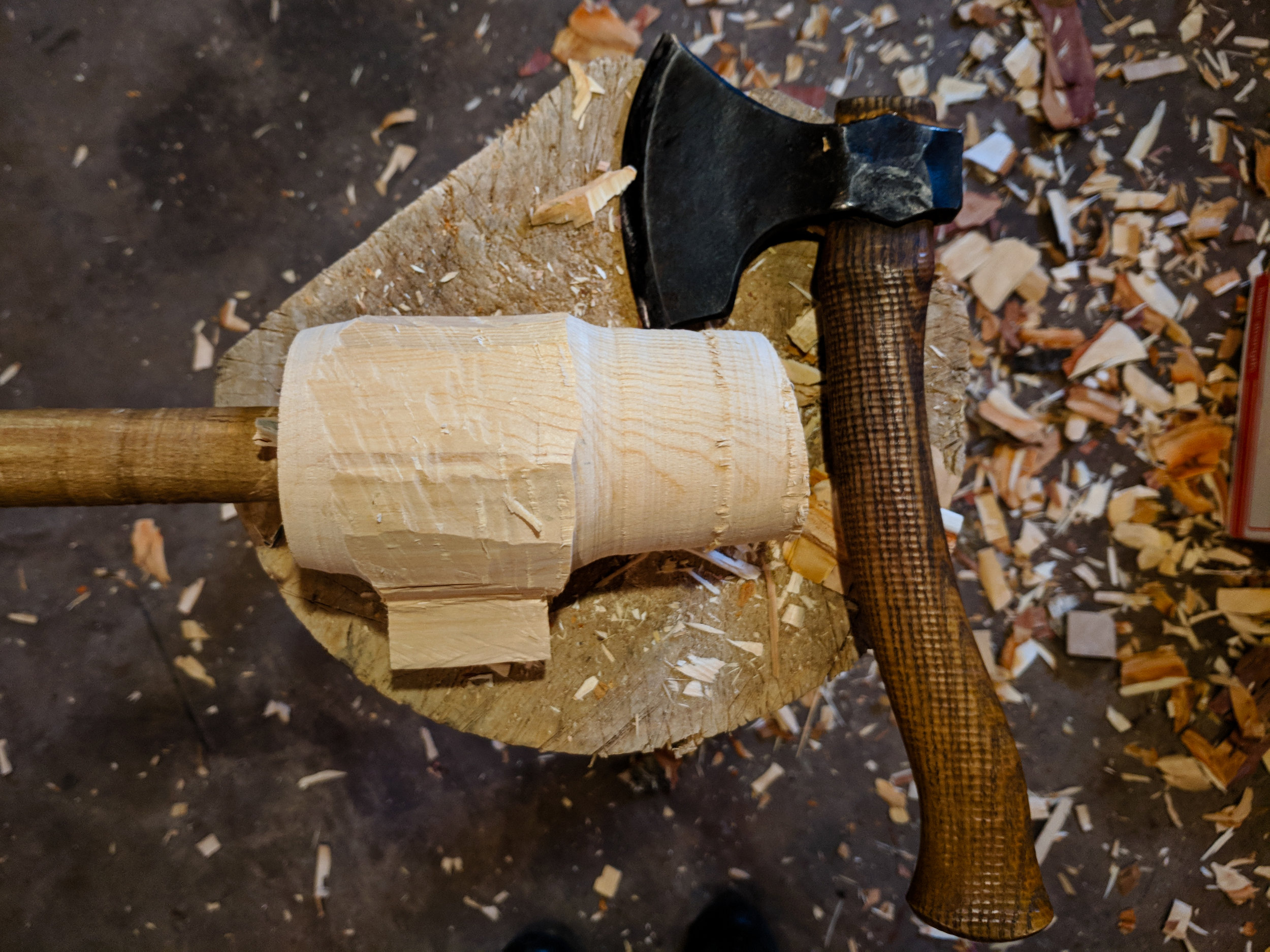 Axe and wooden mug