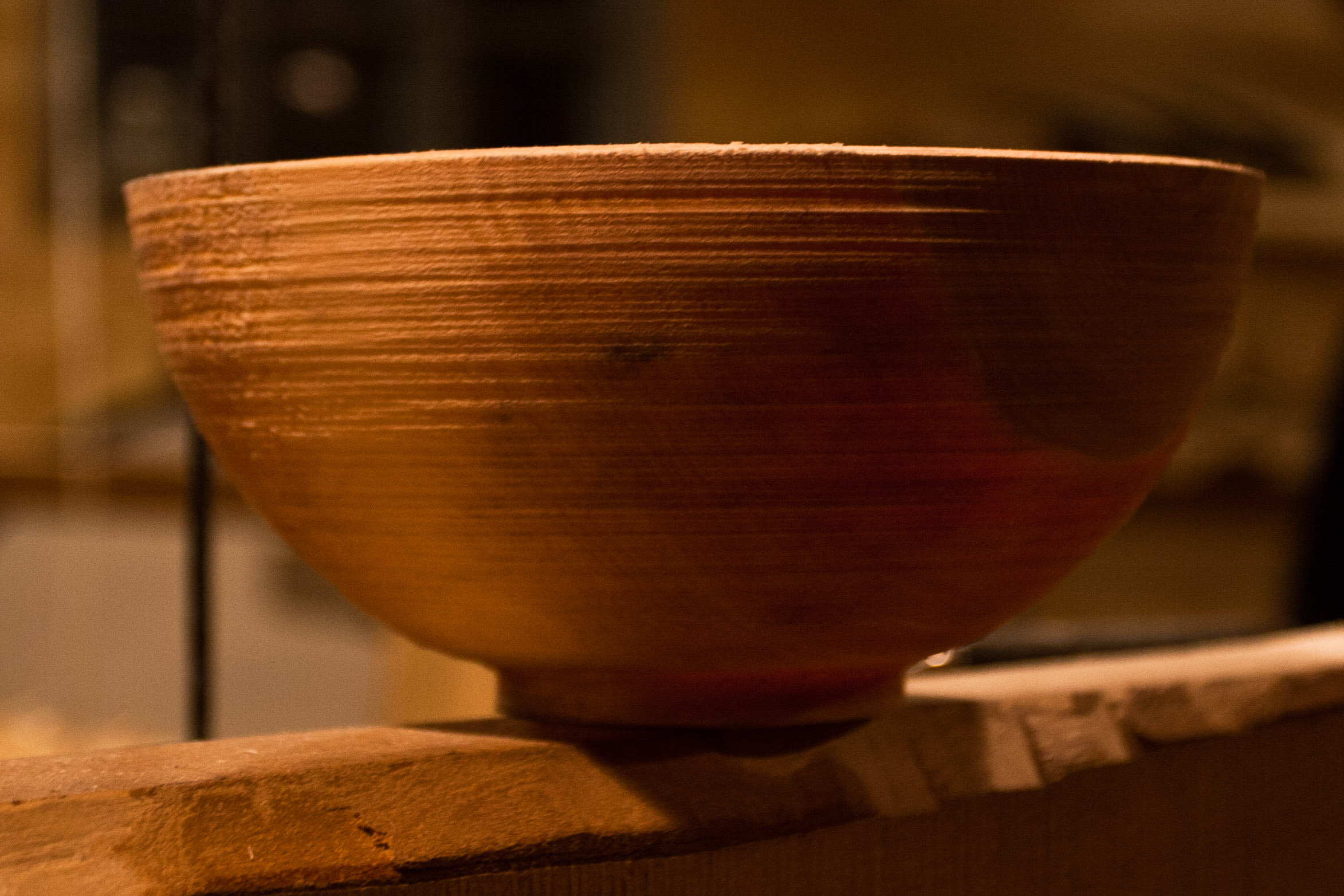 Wooden bowl turned on a pole lathe