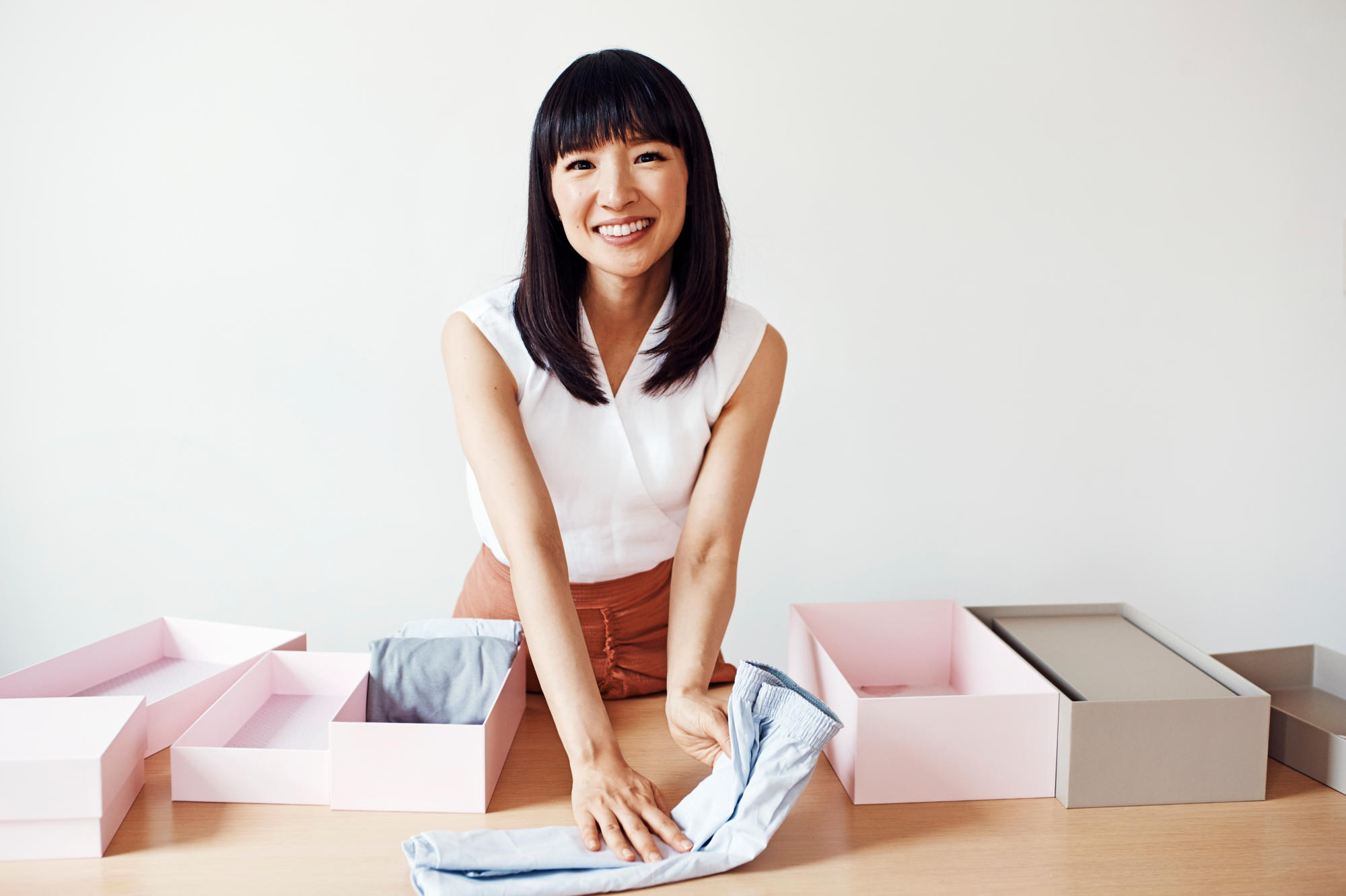 Marie Kondo -  source  https://people.com/home/marie-kondo-reveals-the-secret-to-actually-finishing-tidying-up-plus-more-tips/