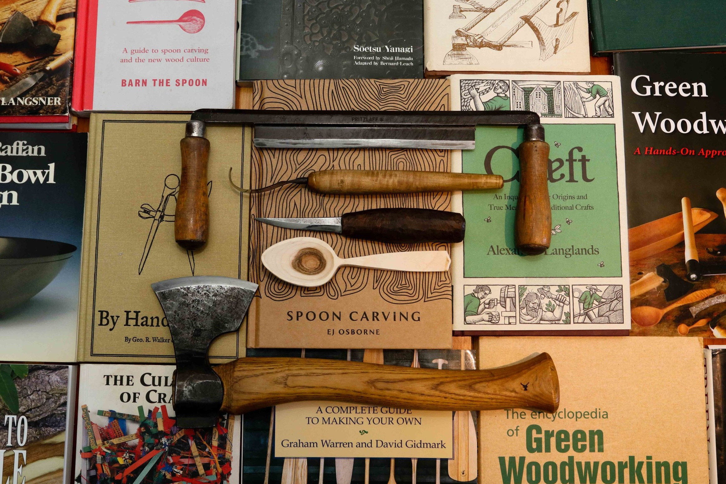 Books+axe+knife+tools+woodworking