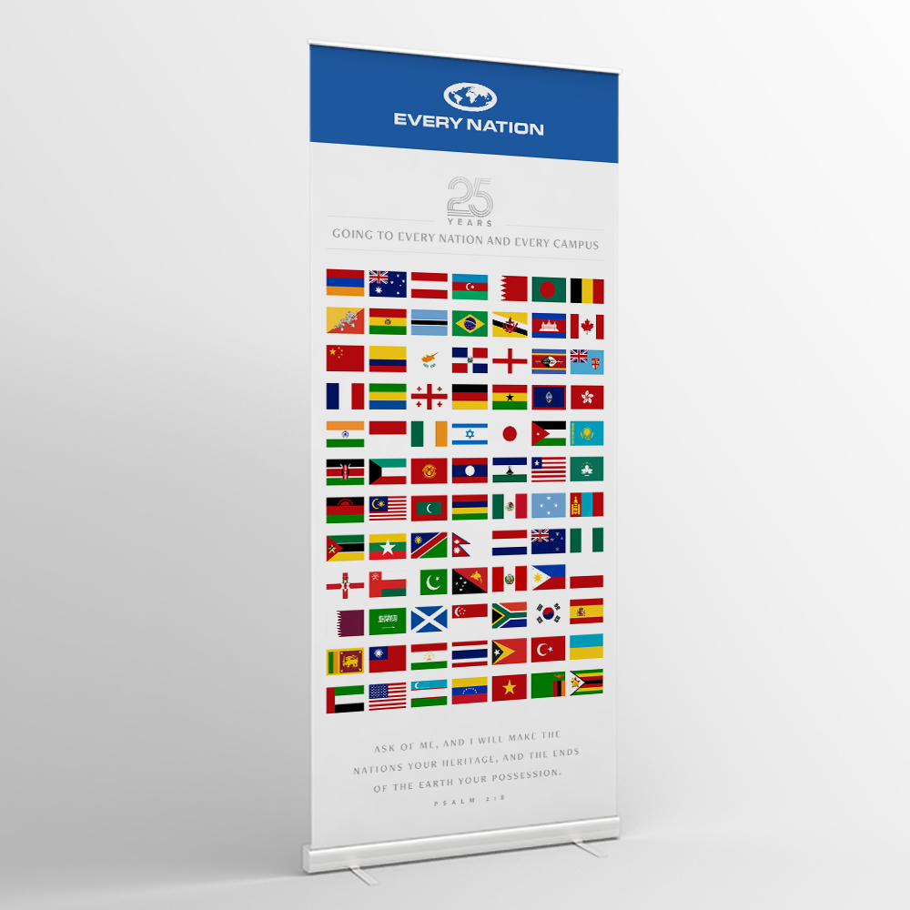 Every Nation 25 Years—Vertical Banner