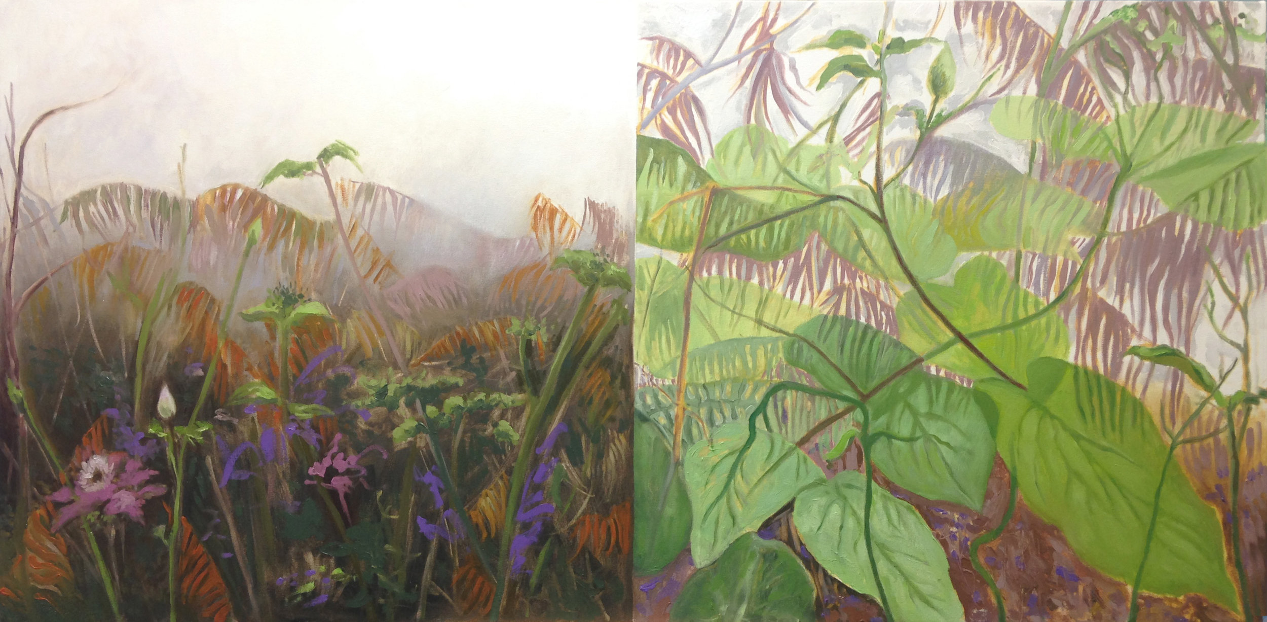 Garden Series #3,  Along the Canal , 2018, oil on canvas, 30 x 60 inches (one canvas), Collection: Aramark, Philadelphia
