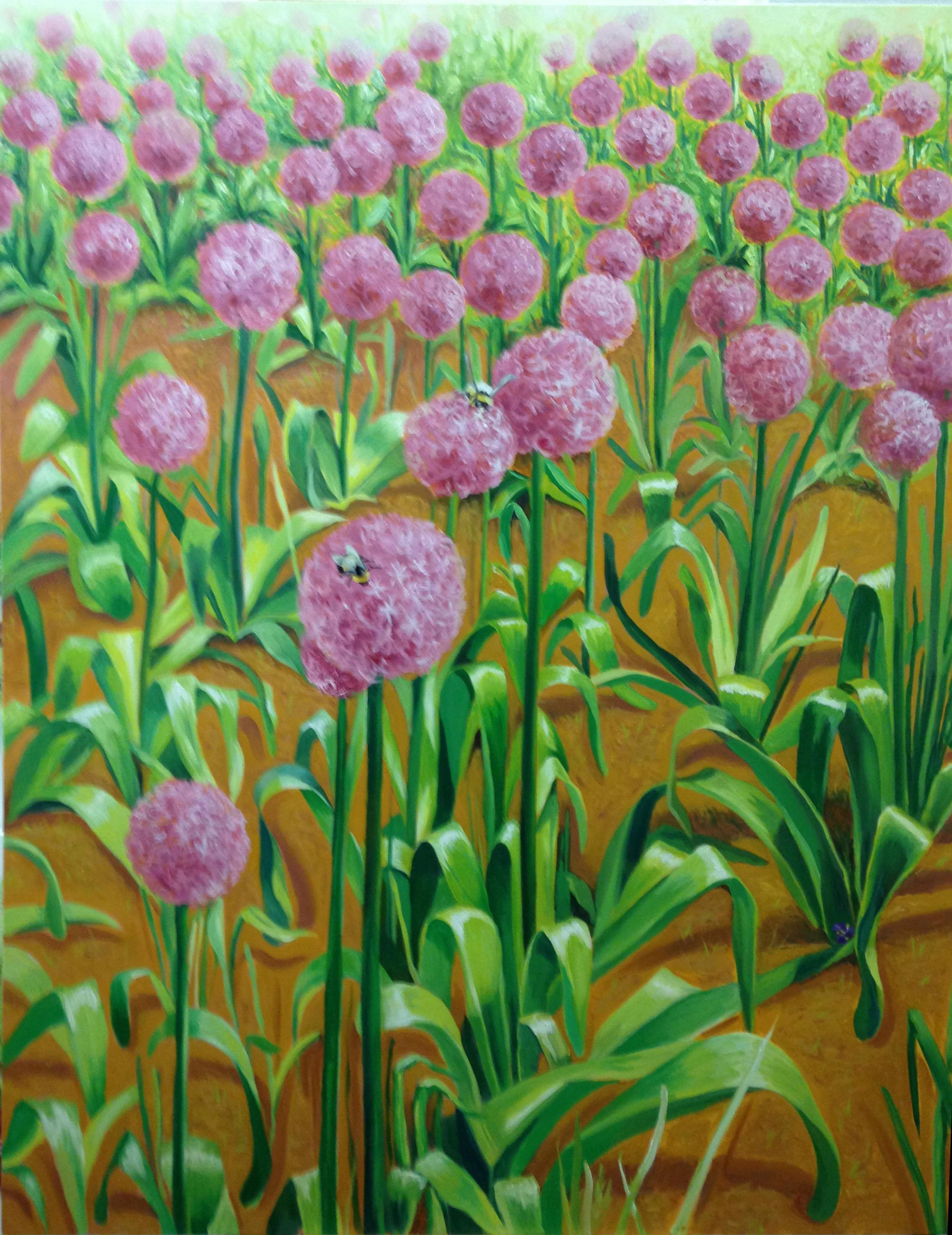 Allium Garden at Comcast , 2018, oil on canvas, 48 x 60 inches
