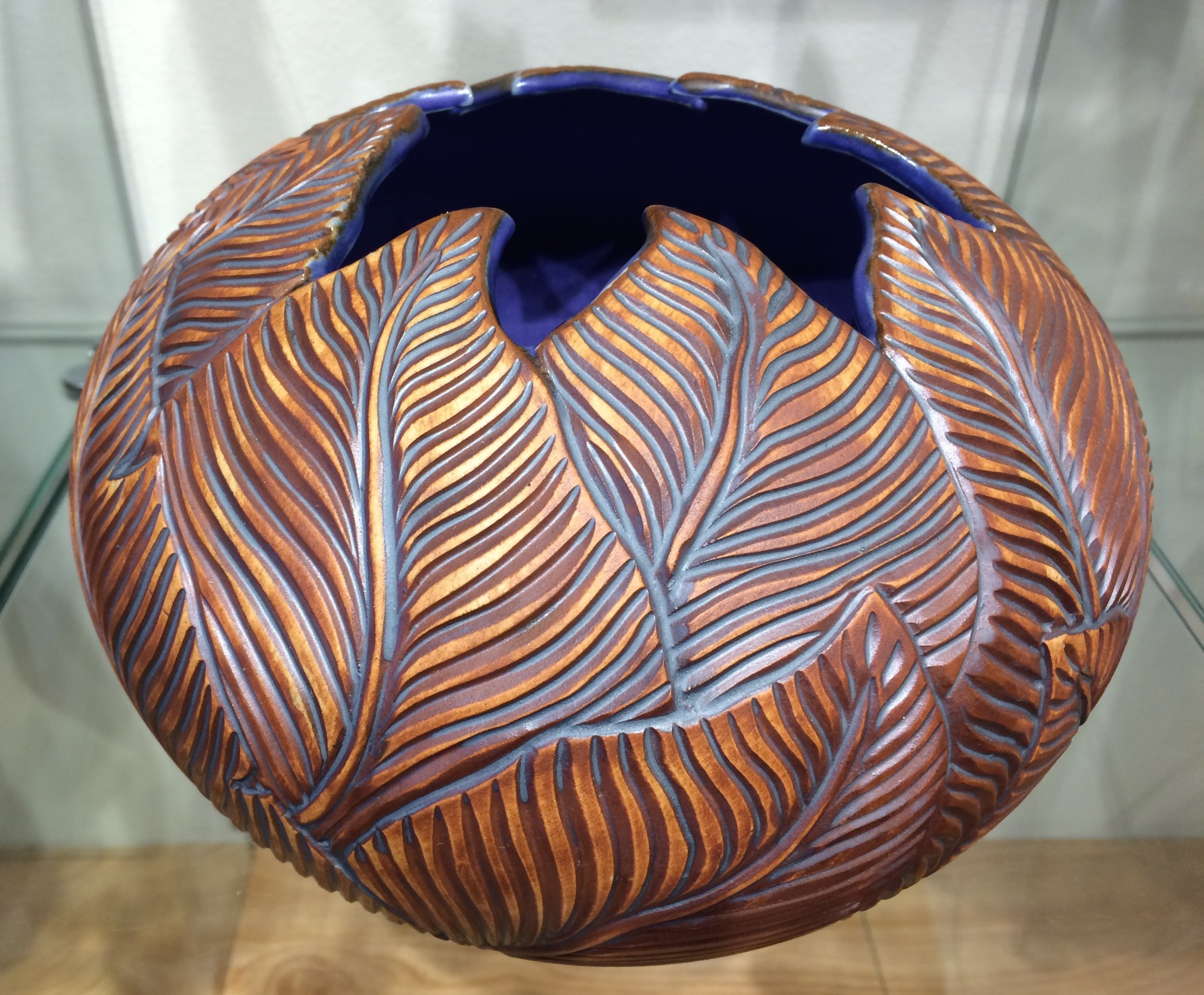 Leaf Vase w/ Purple Glaze /SOLD