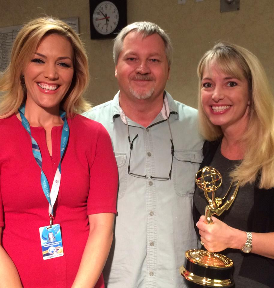 "WPTV's Shannon Cake and Jim Sitton, and I, with one of the two Emmy's won for ""Julie's Fight For Change"" in 2013."