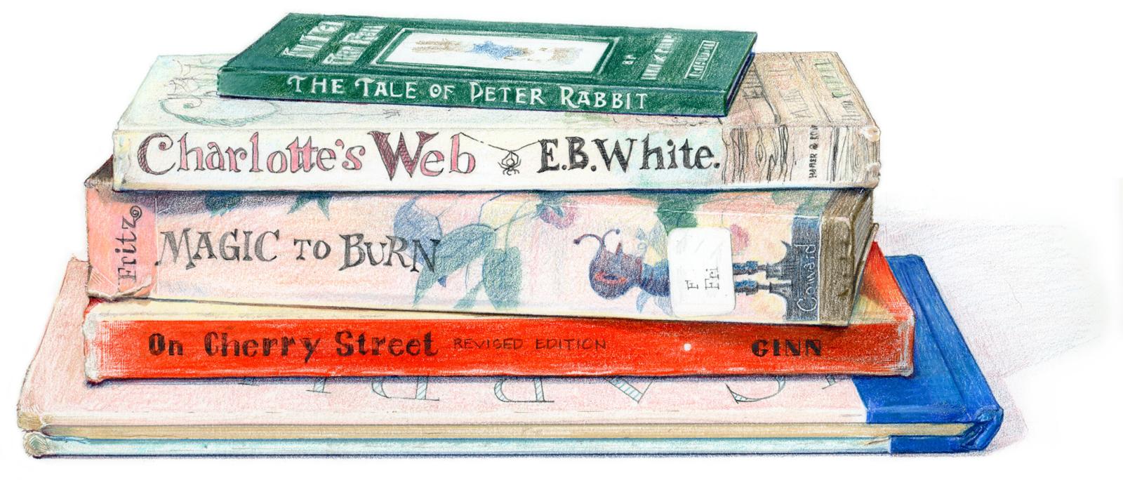 Favorite childhood books - colored pencil