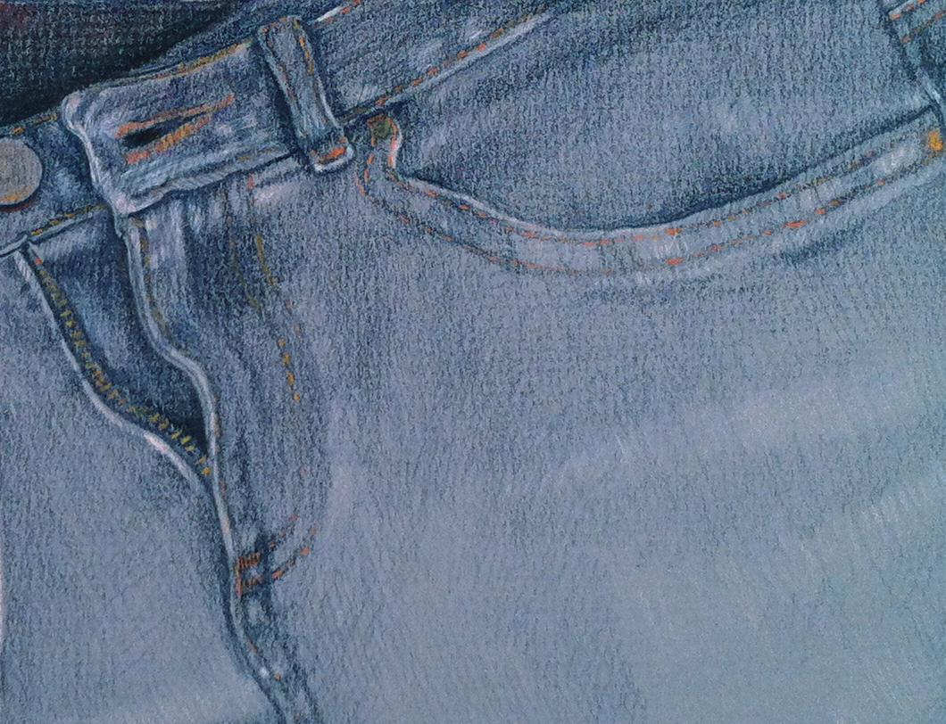 Blue jeans - colored pencil