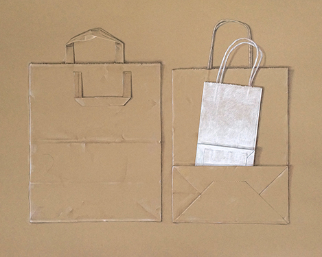 Paper bag family - colored pencil