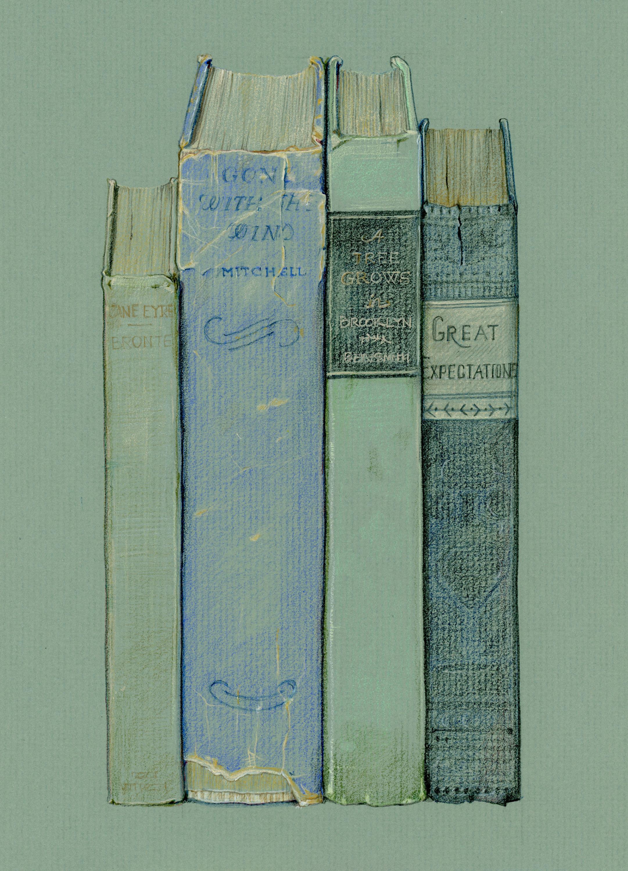 Old books - colored pencil