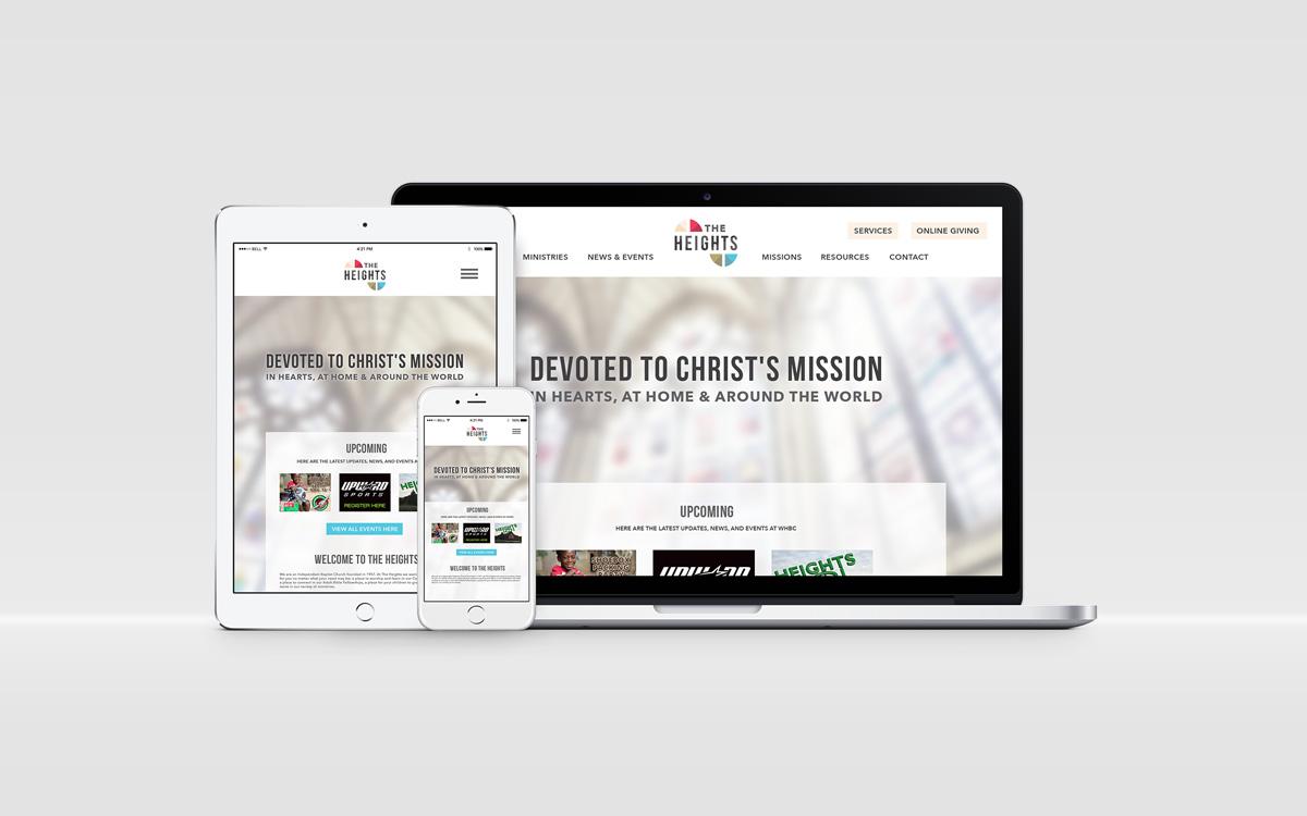 Custom church visual brand and logo design - responsive web design
