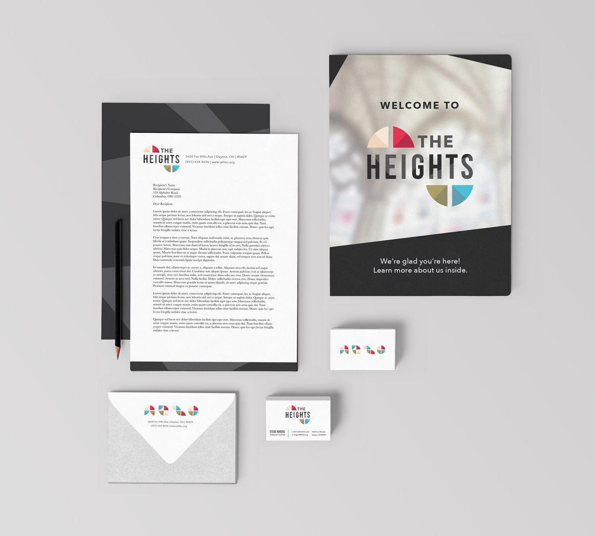 The Heights - Church Visual Brand and Logo Design - Business Card, Letterhead, Business Stationery Print Design