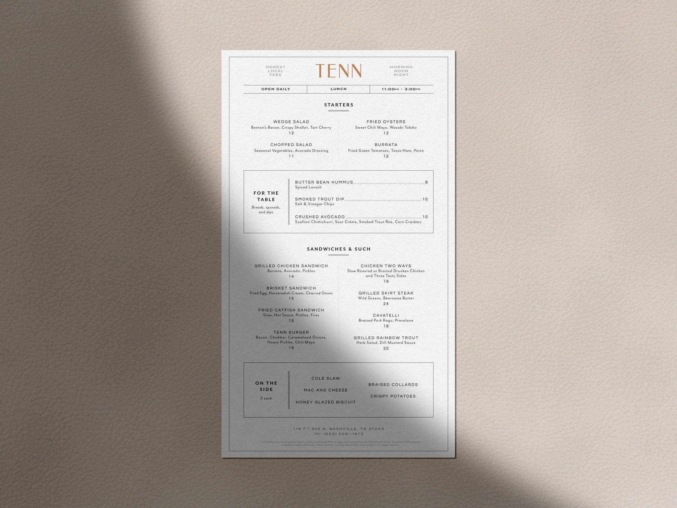 TENN RESTAURANT —  Branding, Print Design