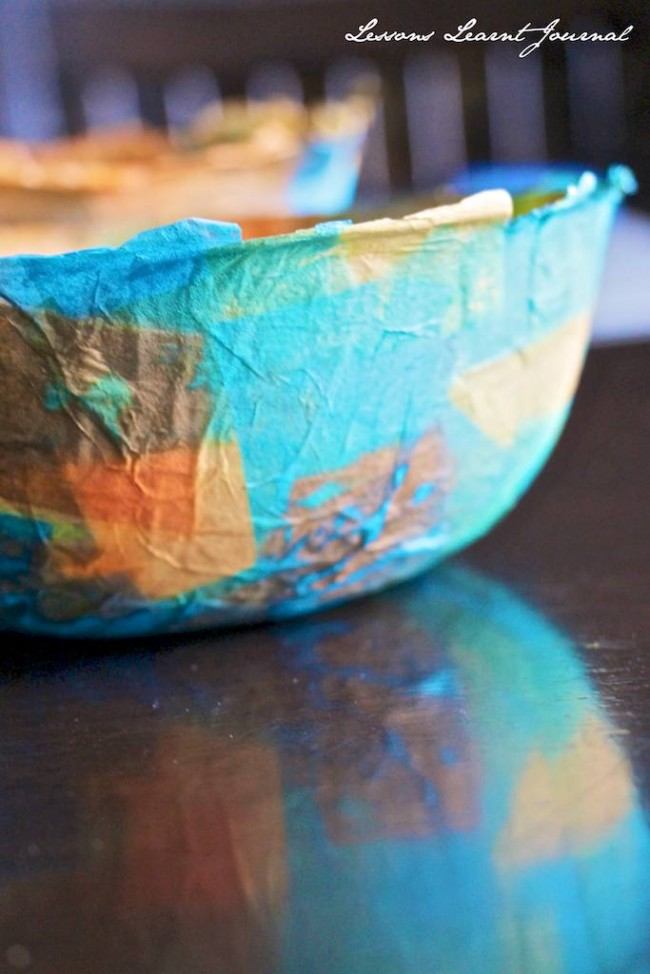 Use colorful tissue paper to make a rainbow of trinket bowls that would look adorable on anyone's dresser or nightstand. Head over to  Lessons Learnt Journal for the complete instructions!