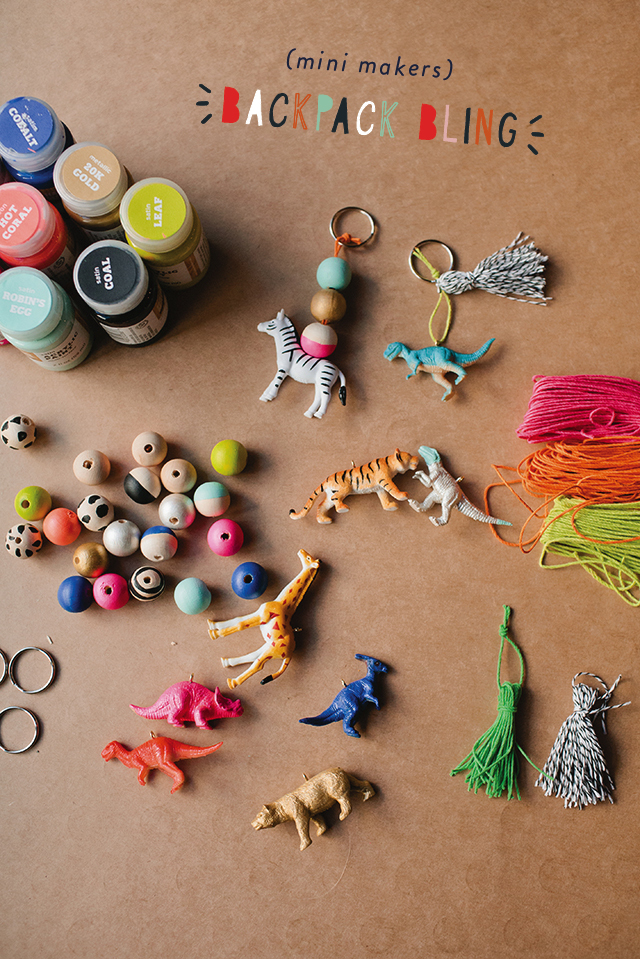 Pick up a pack of small plastic animals and wood beads to make these fun backpack charms from  Rae Ann Kelly . These would make great $5-or under gifts and awesome stocking stuffers!