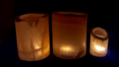 Shown here in order: 2-tea light 5 inches tall, 3-tea light 5.5 inches tall and 1-tea light size 2.5 inches tall.