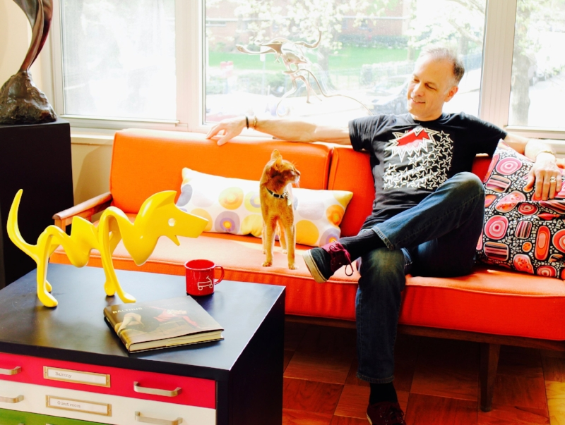 "The Artist & his bossypants Abysinnian at home in ""The Chelsea Treehouse"", NYC."