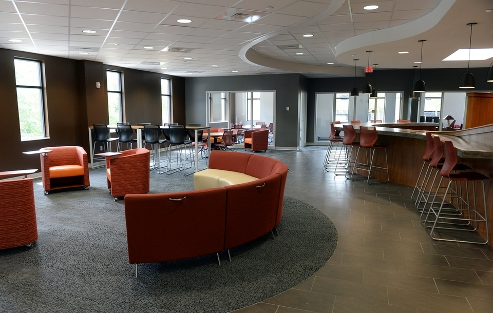 The coworking space and cafe is part of the new renovations at CURE Innovation Commons in Groton, seen on Thursday, June 23, 2016. (Dana Jensen/The Day)