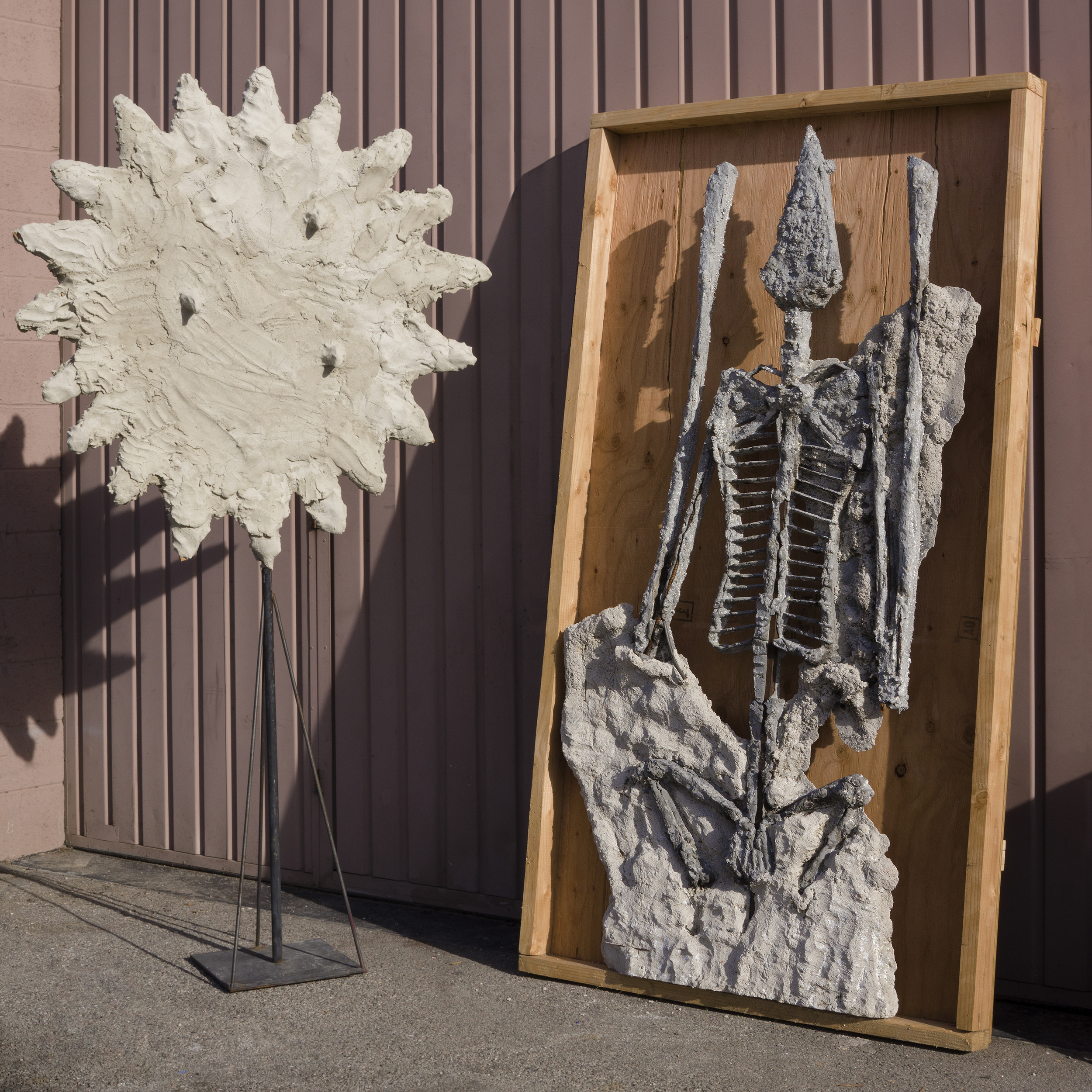 Evans Wittenberg, Empire of the Sun, 2016 steel, cement, wood, fossil 84 x 48 x 4 inches, sun 88 x 48 x 12 inches