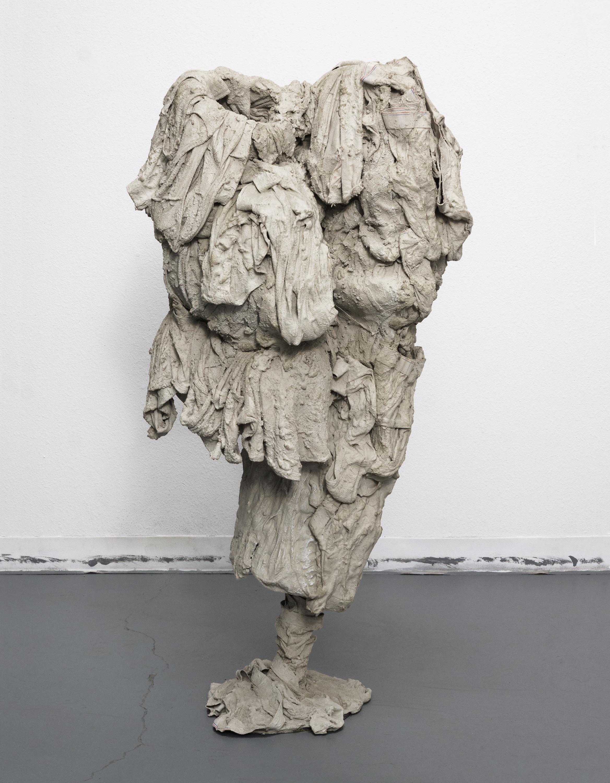 Evans Wittenberg, Untitled (40 briefs), 2016 cement, steel, mens underwear 48 x 22 x 16 inches
