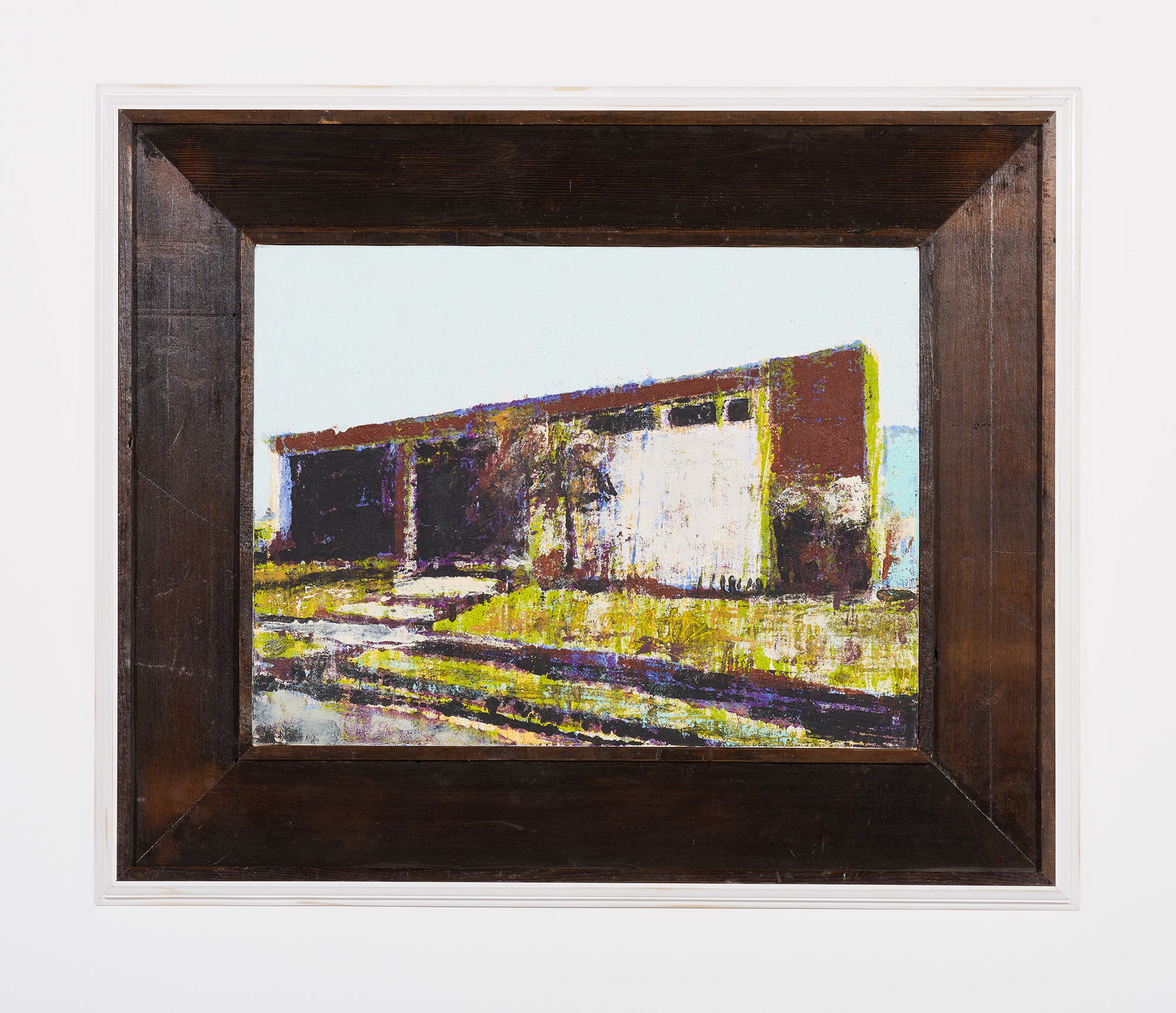 Enoc Perez and Carlos/Rolón Dzine, Rio Piedras, Puerto Rico, 2015, Oil on canvas with customized reclaimed wood frame with metal, 18 x 24 inches (unframed)