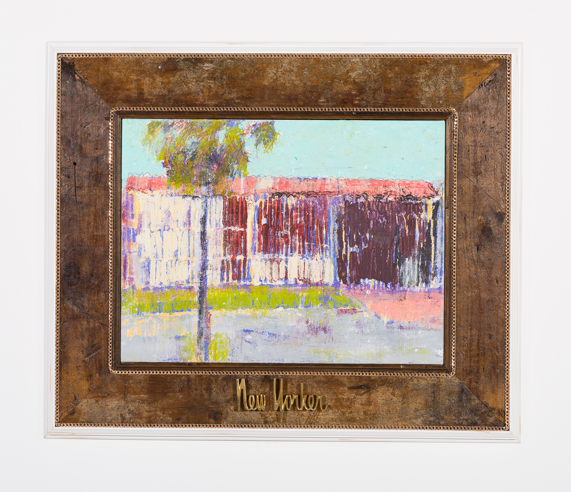 Enoc Perez and Carlos/Rolón Dzine, Guynabo City, Puerto Rico, 2015, Oil on canvas with customized reclaimed wood frame with metal, 18 x 24 inches (unframed)