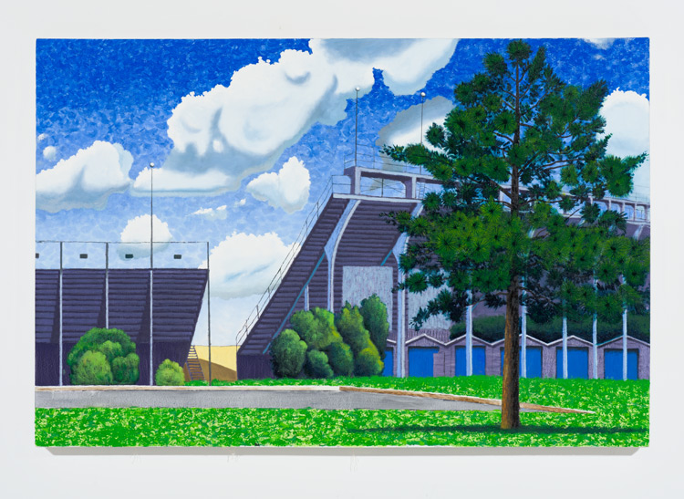 Cole Case,  Turn 1 Grandstands And Tree Looking 60 Degrees NE 5.30.16 , 2016, oil on canvas, 34 × 51 inches