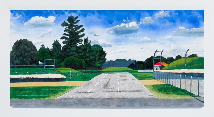 Cole Case,  Speedway Infield And Turn 3 Grandstands Looking Zero Degrees Due North 5.30.16 , 2016, oil on canvas, 37 × 74 inches