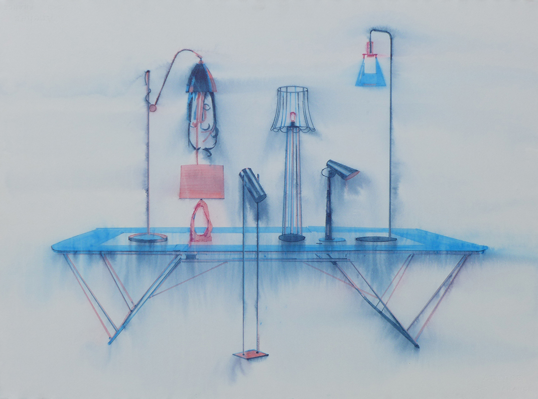 Chris Finley,  Lamp Trampoline 5 , 2016, watercolor on paper, 22 x 30 inches
