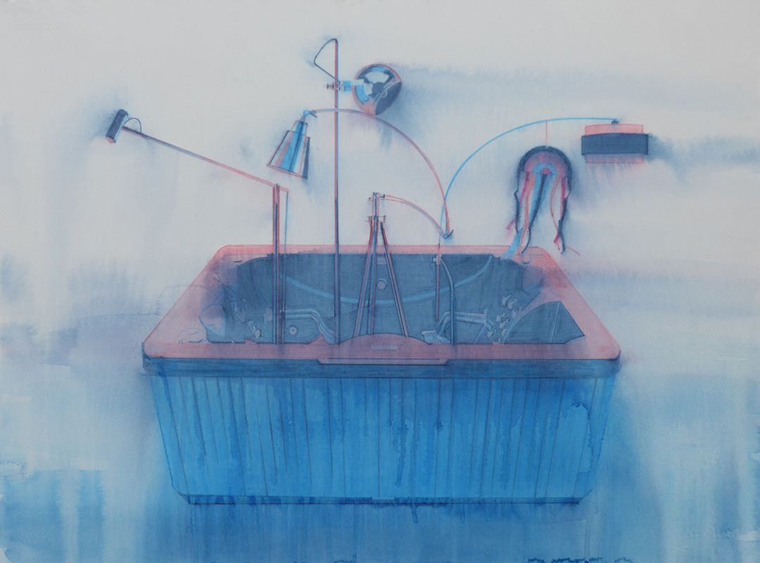 Chris Finley,  Lamp Hot Tub 2 , 2016, watercolor on paper, 22 x 30 inches
