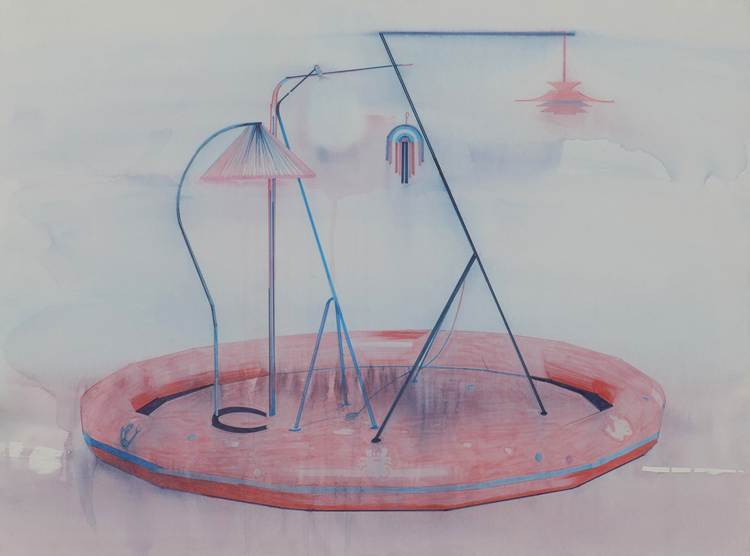 Chris Finley,  Lamp Pool 1 , 2016, watercolor on paper, 22 x 30 inches