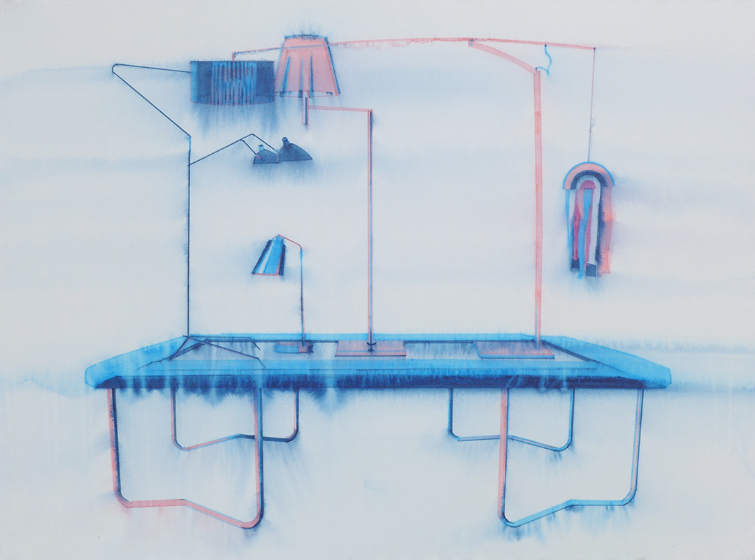 Chris Finley,  Lamp Trampoline 6 , 2016, watercolor on paper, 22 x 30 inches