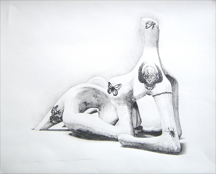 Chris Finley,  Tatooed Henry , 2015, pencil on paper, 23 x 28.5 x 1.5 inches (framed)