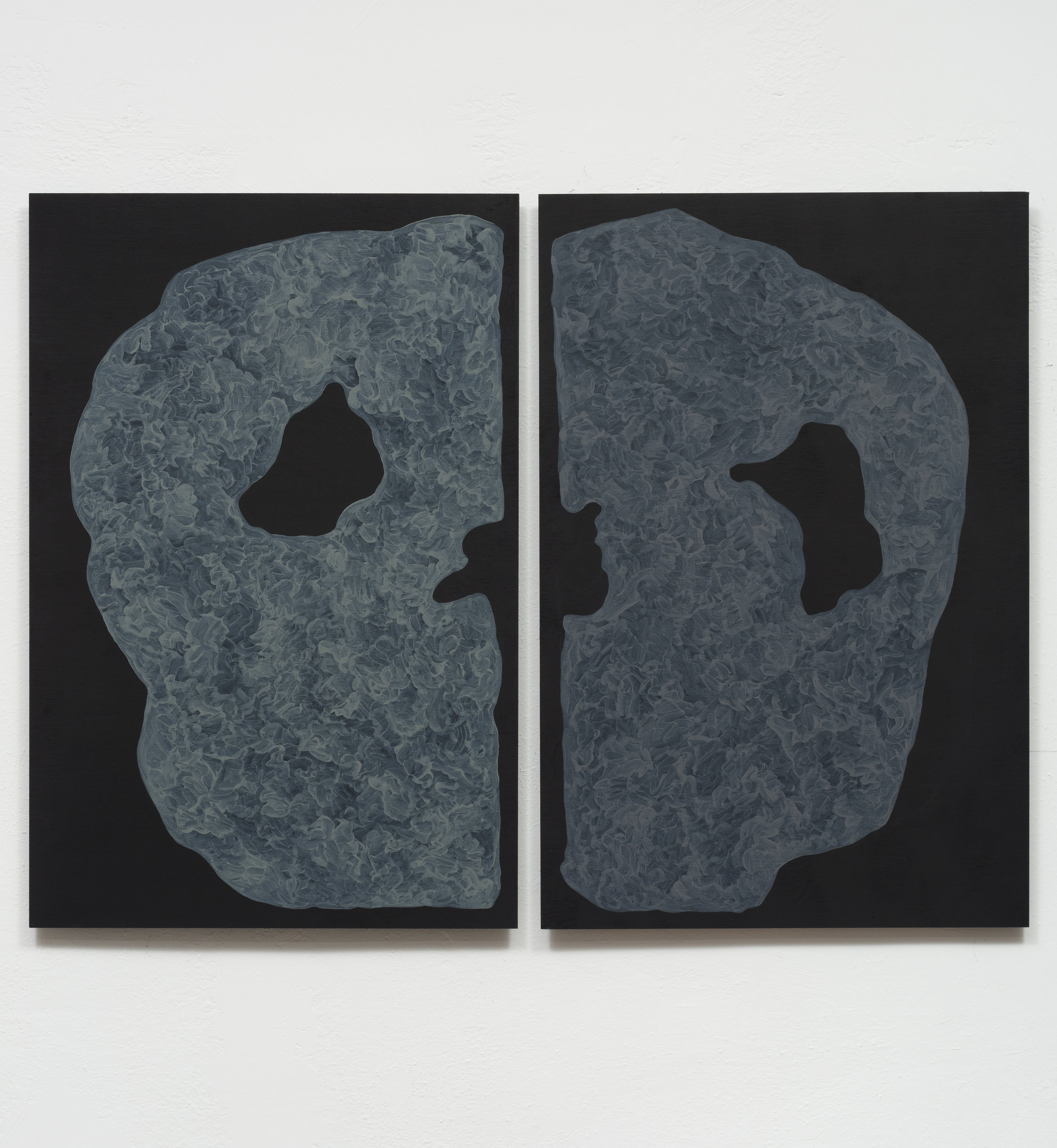Monique Prieto,  Grey Set , 2017, acrylic on panel, 48.5 x 36 inches (diptych)