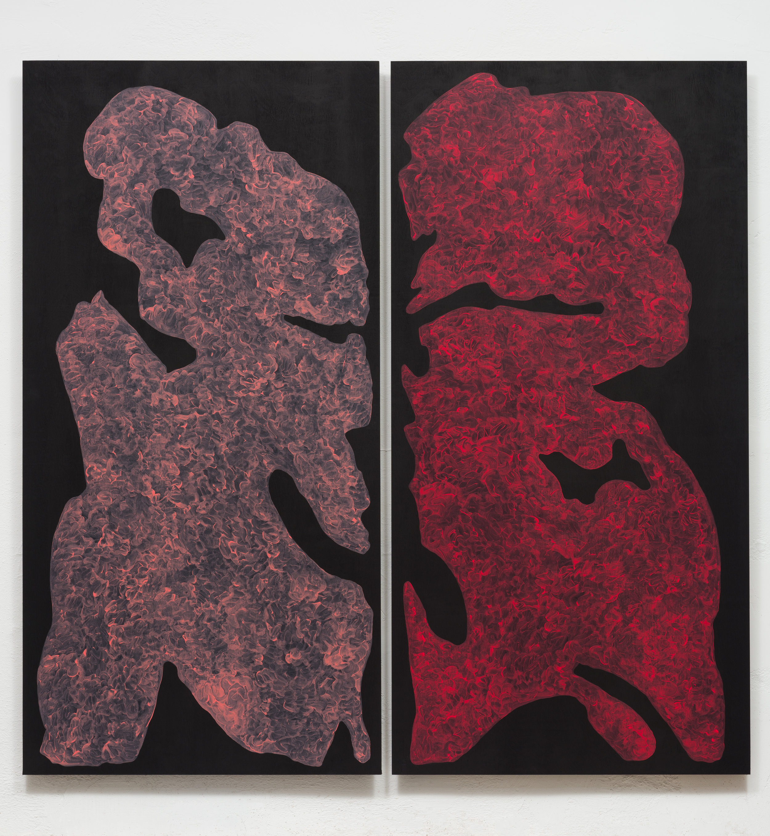 Monique Prieto,  Pink Set , 2017, acrylic on panel, 72.5 x 72.5 inches (diptych)