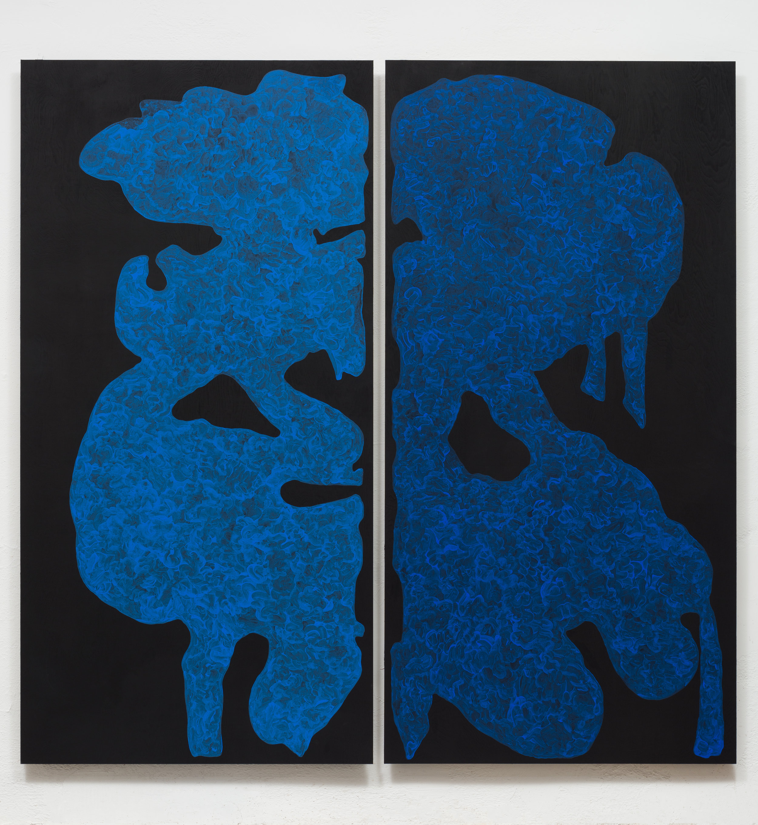 Monique Prieto,  Blue Set , 2017, acrylic on panel, 72.5 x 72.5 inches (diptych)