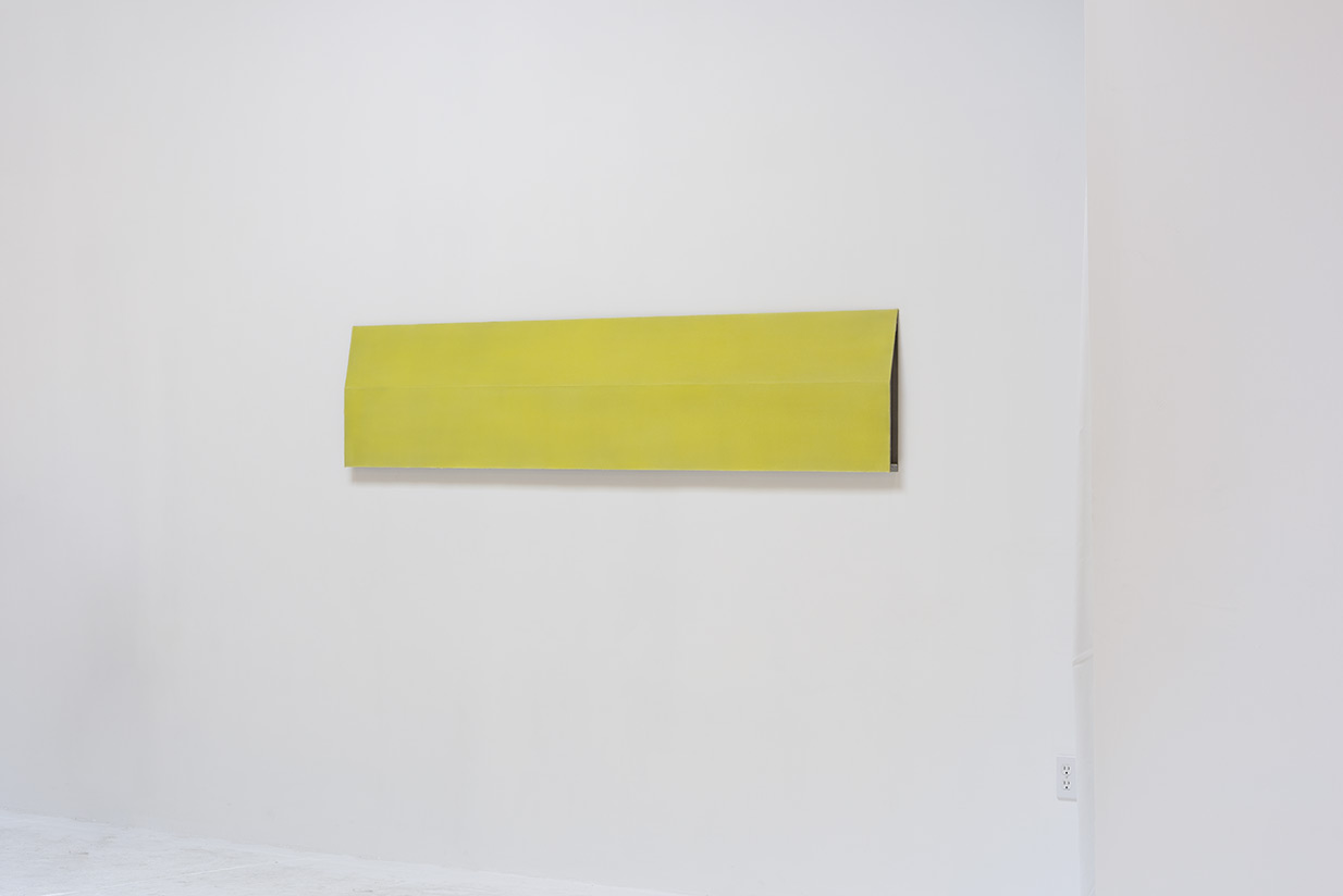 Roy Thurston,  2015-1 , 2015, yellow silicone on aluminum panel, 72 x 30 x 1.6 inches